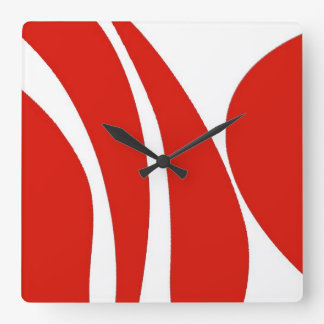 Red and white, funky design, clock