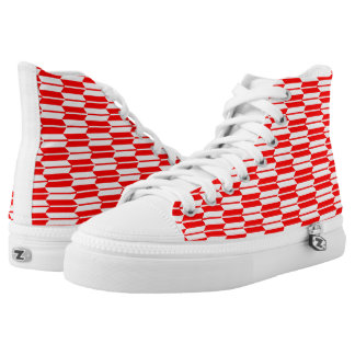 Red and white Geometric pattern zipz High Tops