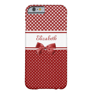 Red and White Gingham and Polka Dots With Name Barely There iPhone 6 Case
