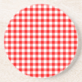 Red and White Gingham Checks Coaster