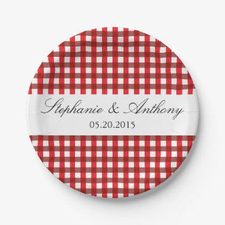Red and White Gingham Pattern Barbeque Wedding Paper Plate