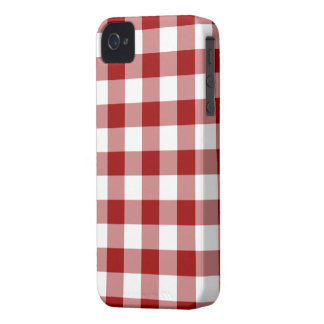 Red and White Gingham Pattern iPhone 4 Cases