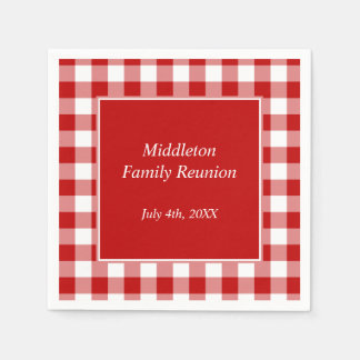 Red and White Gingham Pattern Personalised Disposable Napkins
