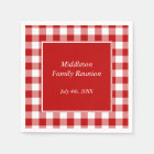 Red and White Gingham Pattern Personalised Disposable Serviette