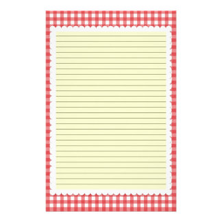 Red and White Gingham Stationery - optional lines