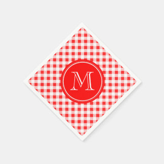 Red and White Gingham, Your Monogram Disposable Serviette