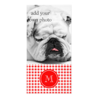 Red and White Gingham Your Monogram Photo Card