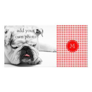 Red and White Gingham, Your Monogram Photo Cards
