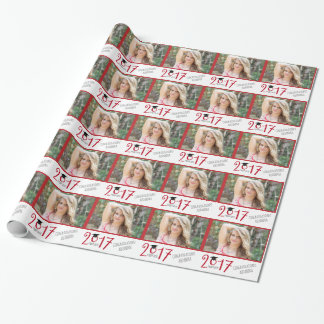 Red and White, Grad Hat, Photo Graduation Wrapping Paper