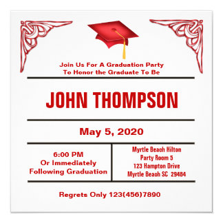 Red and White Graduation Party Invitation