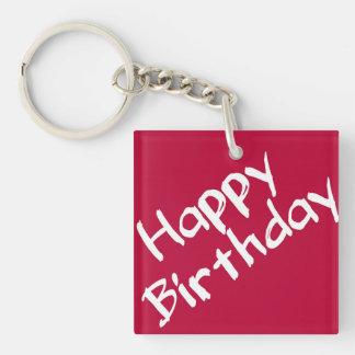 Red and White Happy Birthday Key Ring