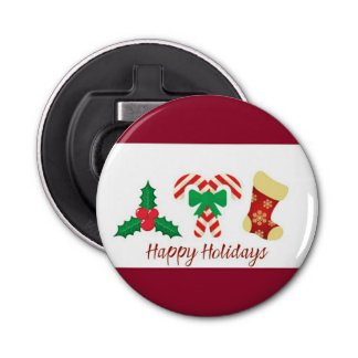 Red And White Happy Holidays Bottle Opener