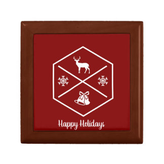 Red And White Happy Holidays Gift Box