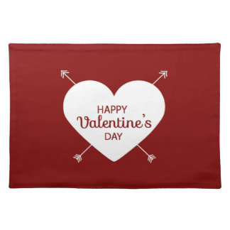 Red And White Happy Valentine's Day Heart Placemat