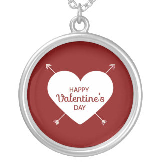 Red And White Happy Valentine's Day Heart Silver Plated Necklace