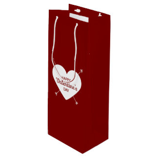 Red And White Happy Valentine's Day Heart Wine Gift Bag