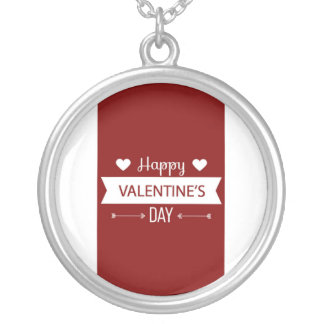 Red And White Happy Valentine's Day Silver Plated Necklace