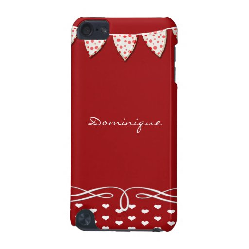 Red and White Heart Banner iPod Touch (5th Generation) Case