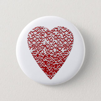 Red and White Heart. Patterned Heart Design. 6 Cm Round Badge