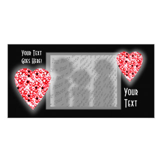 Red and White Heart. Patterned Heart Design. Photo Cards