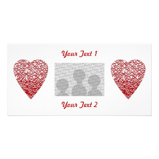 Red and White Heart. Patterned Heart Design. Photo Greeting Card