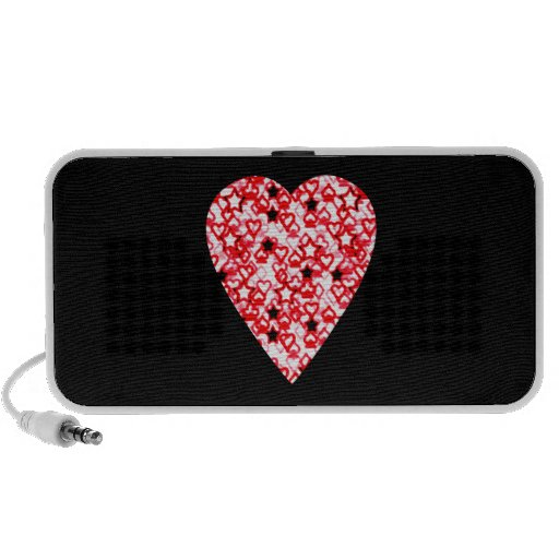 Red and White Heart. Patterned Heart Design. Notebook Speaker
