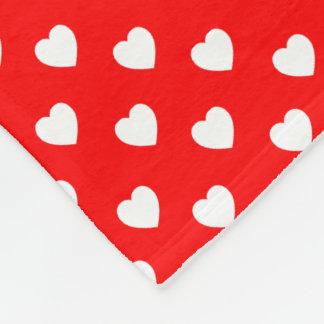 Red And White Heart Polka Dot Pattern Fleece Blanket