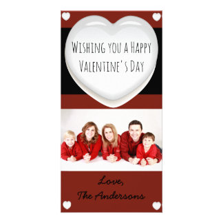 Red and White Heart Valentine's Day Photo Card