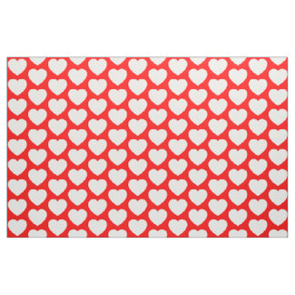 Red and White Hearts Fabric