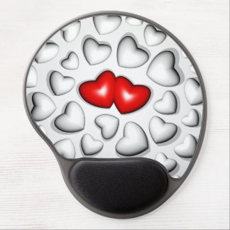 Red and White Hearts Gel Mousepad