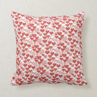Red and White Hearts Pattern Cushions