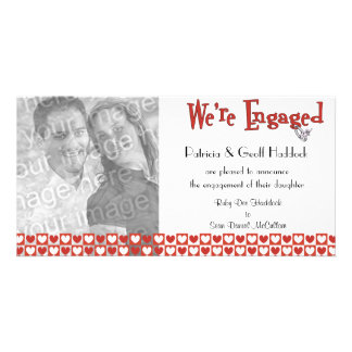 Red And White Hearts Photo Engagement Announcement Card