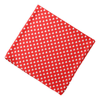 Red And White Hearts Polka Dot Pattern Bandana