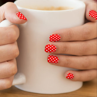 Red And White Hearts Polka Dot Pattern Minx Nail Art