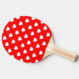 Red And White Hearts Polka Dot Pattern Ping Pong Paddle
