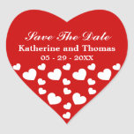 Red and White Hearts Save The Date Stickers