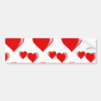 Red and White Hearts Valentine's Day Pattern Bumper Sticker