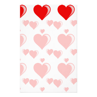 Red and White Hearts Valentine's Day Pattern Stationery