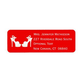 Red And White High Heel Shoes Return Address Return Address Label