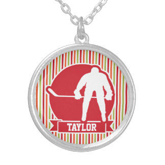 Red and White Hockey Player, Red, Orange, Green Personalized Necklace