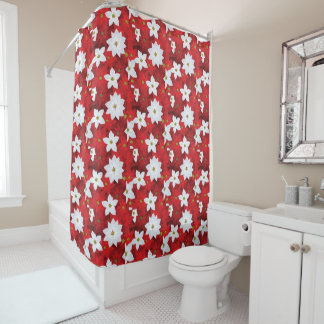 Red and White Holiday Background Shower Curtain