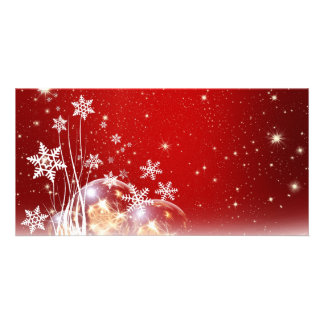 Red and White Holiday Christmas Bauble Design Customized Photo Card