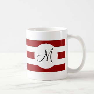 Red and White Horizontal Stripes Pattern Basic White Mug