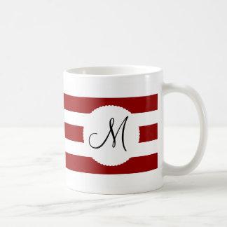 Red and White Horizontal Stripes Pattern Basic White Mug