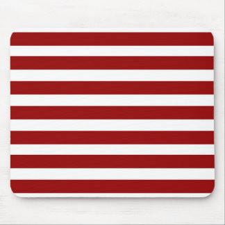 Red and White Horizontal Stripes Pattern Mouse Pad