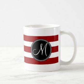 Red and White Horizontal Stripes Pattern Mug
