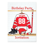 Red and White Ice Hockey Jersey Birthday Party