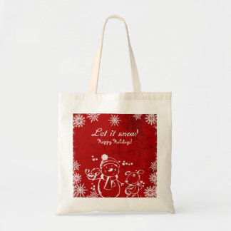 Red And White Illustration- Merry Christmas Tote Bag