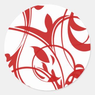 Red And White Invitation Envelope Seals Round Sticker