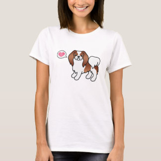 Red And White Japanese Chin Cartoon Dog T-Shirt